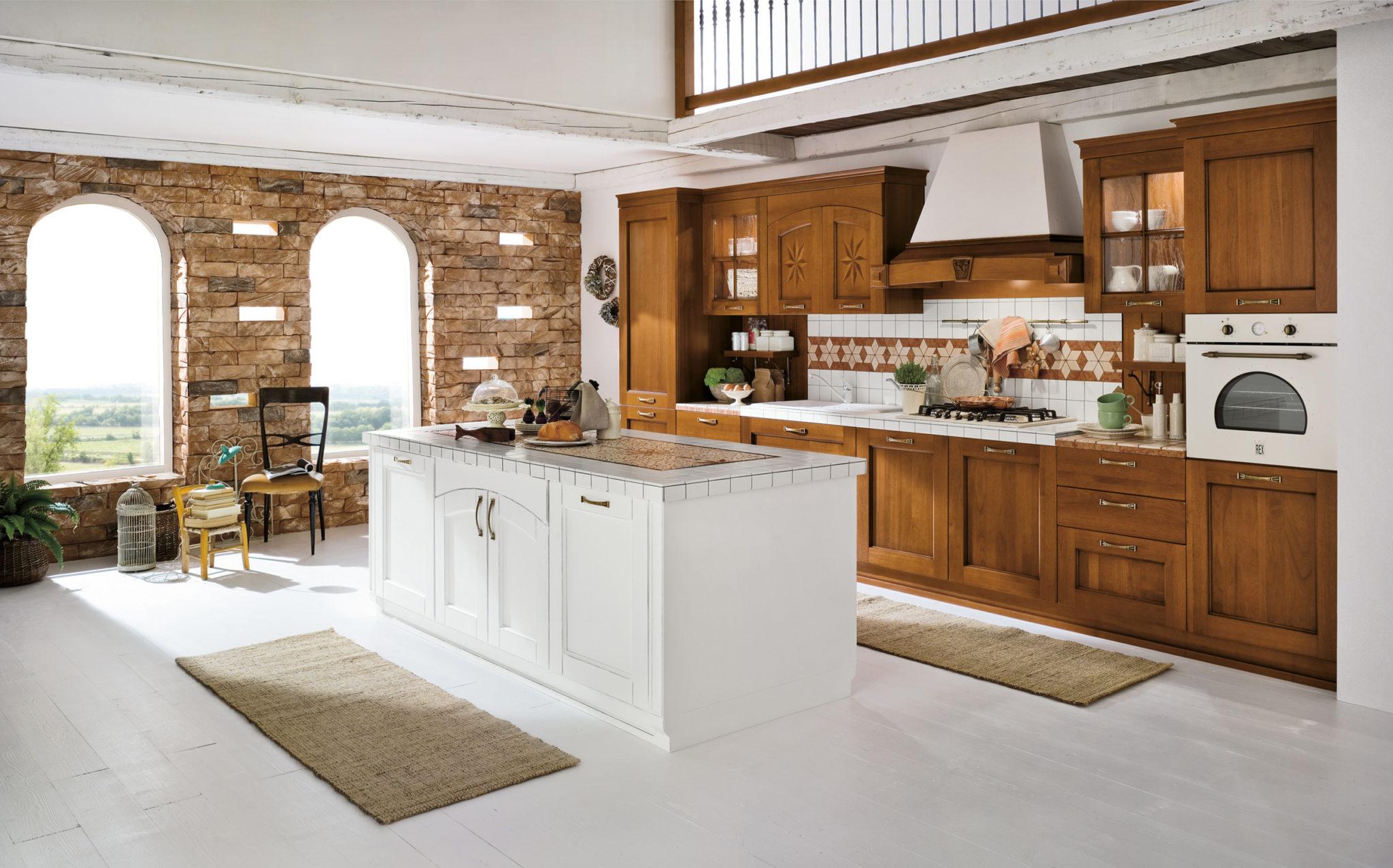 01 Composizione1 A11 #6F4322 2500 1559 Cucine Classiche Con Capitelli